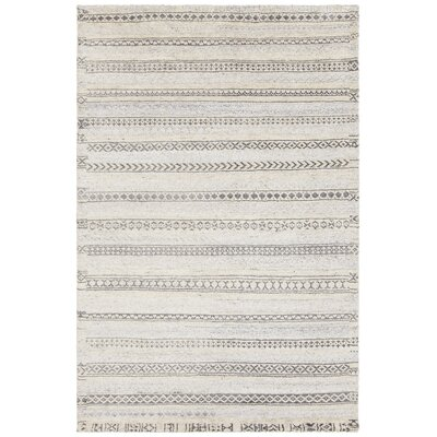 Isla Hand-Knotted Cream/Gray Area Rug Rug Size: 79 x 106