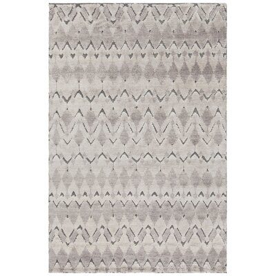 Genna Hand-Knotted Gray Area Rug Rug Size: 79 x 106