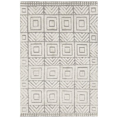 Genna Hand-Knotted White/Gray Area Rug Rug Size: 7'9