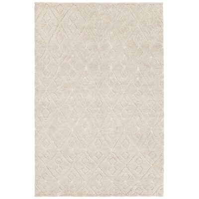 Catalina Hand-Knotted Cream Area Rug Rug Size: 79 x 106
