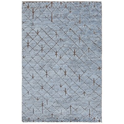 Genna Hand-Knotted Blue/Brown Area Rug Rug Size: 79 x 106