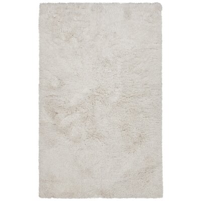 Elsa Hand-Woven White Area Rug Rug Size: 5 x 76