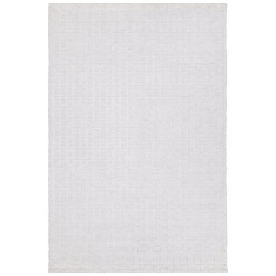 Hallie Hand-Woven White Area Rug Rug Size: 79 x 106