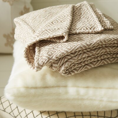 Lia Handcrafted Cotton Throw Blanket Color: Beige / White