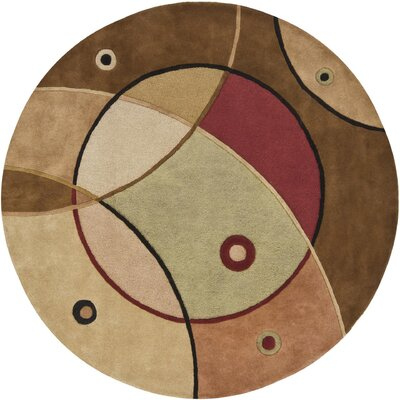 Benna Green/Tan Area Rug Rug Size: Round 79