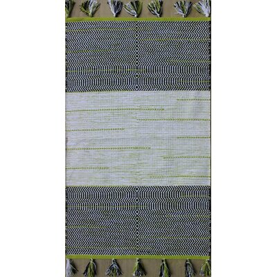 Parker Hand-Woven Black/Green Area Rug Rug Size: Rectangle 79 x 106