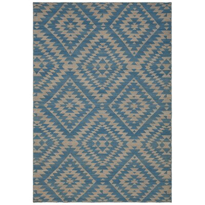 Jones Hand-Woven Wool Blue/Beige Area Rug Rug Size: 79 x 106