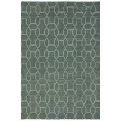 Reagan Hand-Woven Wool Green Area Rug Rug Size: 79 x 106