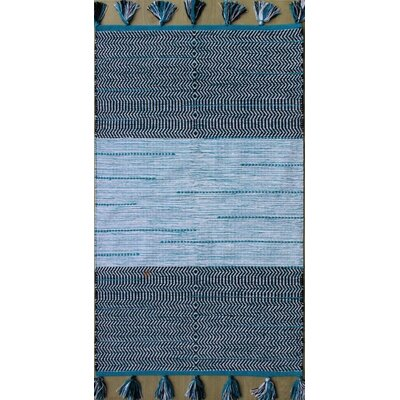Parker Hand-Woven Blue/White Area Rug Rug Size: 79 x 106