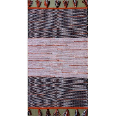 Parker Hand-Woven Black/Orange Area Rug Rug Size: 9 x 13