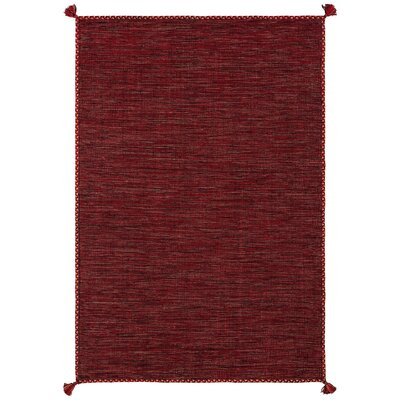 Sandford Hand-Woven Red Area Rug Rug Size: 79 x 106