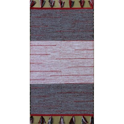 Parker Hand-Woven Black/Red Area Rug Rug Size: 79 x 106
