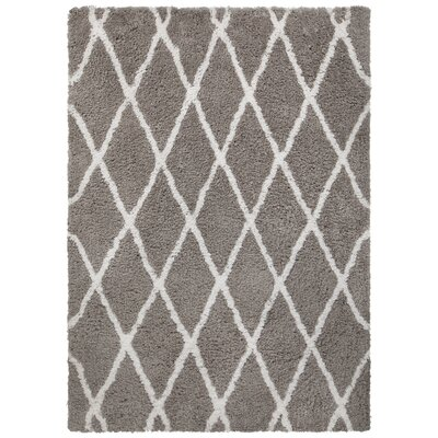 Mekhi Hand-Tufted Gray/White Area Rug Rug Size: 79 x 106