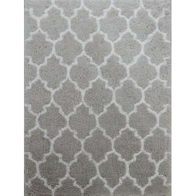 Kareen Hand-Tufted Gray/White Area Rug Rug Size: 79 x 106