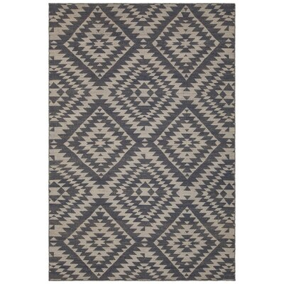 Jones Hand-Woven Wool Black/Beige Area Rug Rug Size: 79 x 106
