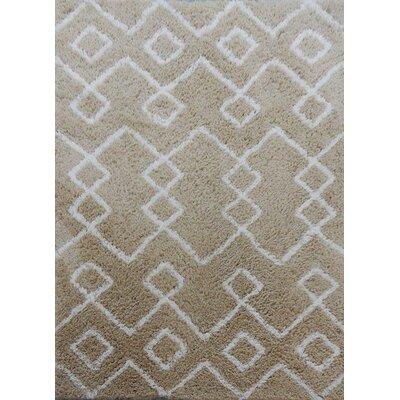 Gilmore Hand-Tufted Brown/White Area Rug Rug Size: 79 x 106