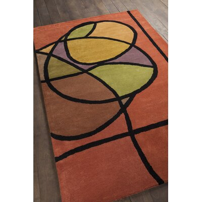 Bense Garza Orange/Brown Area Rug Rug Size: 79 x 106
