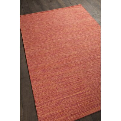 Elbeni Hand Woven Cotton Orange Area Rug Rug Size: 36 x 56
