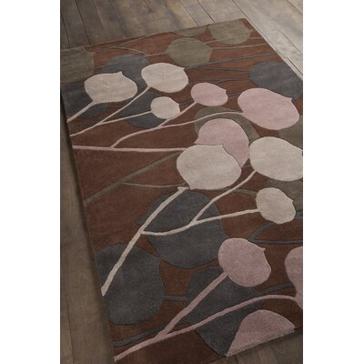 Stoltz Hand Tufted Brown Area Rug Rug Size: 79 x 106