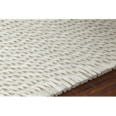 Leff Hand-Woven White Area Rug Rug Size: 79 x 106
