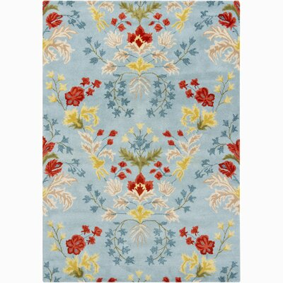 Lillian Blue/Yellow Floral Area Rug Rug Size: 5 x 76
