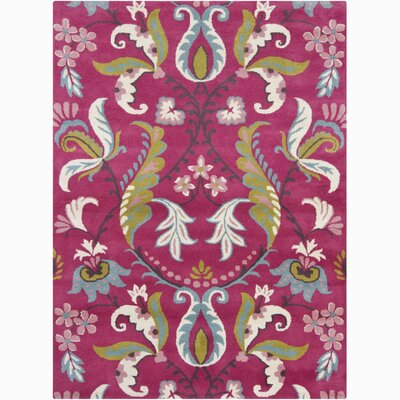 Lillian Hand Woven Wool Pink Area Rug Rug Size: 9 x 13