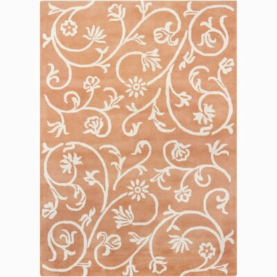 Constance Wool Hand Woven Orange Swirl Floral Area Rug Rug Size: 7 x 10