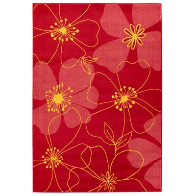 Fruita Red Flower Rug Rug Size: 8 x 11