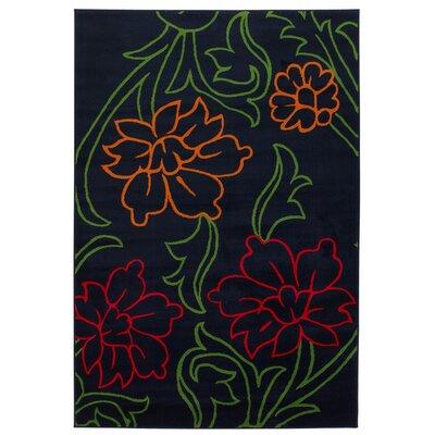 Dersh Black Floral Rug Rug Size: 8 x 11