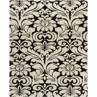 Elvin Black/Beige Floral Area Rug Rug Size: Rectangle 6 x 9