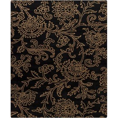 Shuntae Swirls Floral Black/Gold Floral Area Rug Rug Size: Rectangle 6 x 9