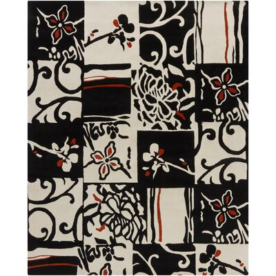 Hanu Black/Ivory Abstract Area Rug Rug Size: 6 x 9