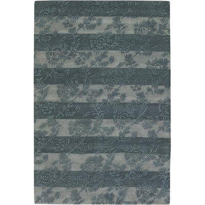 Boise Olive/Light Gray Floral Stripe Area Rug Rug Size: 79 x 106