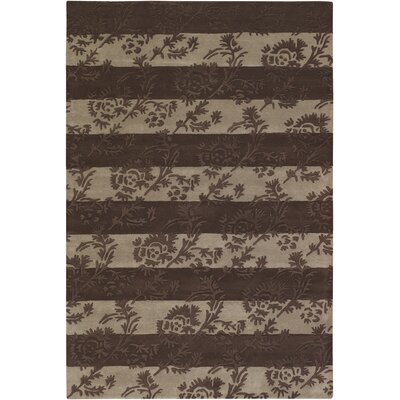 INT Chocolate/Beige Floral Stripe Area Rug Rug Size: 79 x 106
