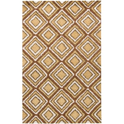 Armoy Gold Square Design Area Rug Rug Size: 5 x 76