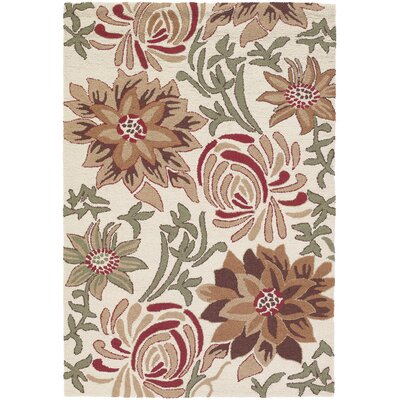 INT Ivory Flower Area Rug Rug Size: 79 x 106