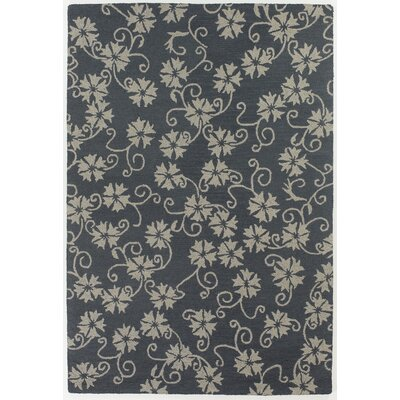 INT Blue/Ivory Floral Leaves Area Rug Rug Size: 9 x 13
