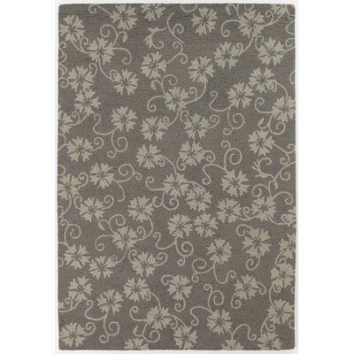 INT Gray/Beige Floral Leaves Area Rug Rug Size: 79 x 106