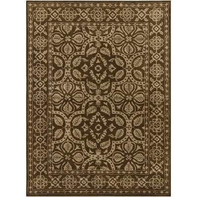 Cayman Brown/Tan Floral Border Area Rug Rug Size: 79 x 106