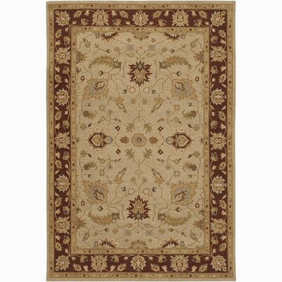Abell Traditional Wool Brown/Tan Area Rug Rug Size: 79 x 106