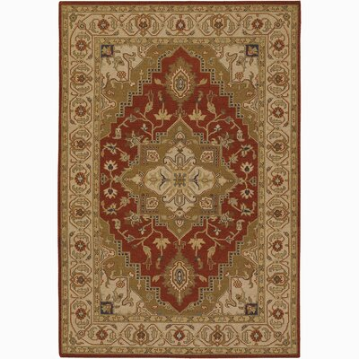 Abell Wool Brown/Red Area Rug Rug Size: 2 x 3