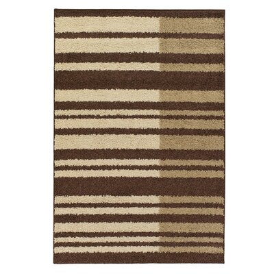 Roma Brown/Tan Stripes Area Rug Rug Size: 5 x 8