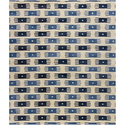 Herald Blue/White Area Rug Rug Size: 2 x 3