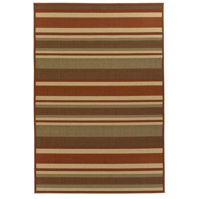 Ryan Brown/Tan Stripe Indoor/Outdoor Area Rug Rug Size: 5 x 8