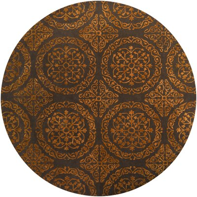 Satara Brown/Orange Area Rug Rug Size: Round 79
