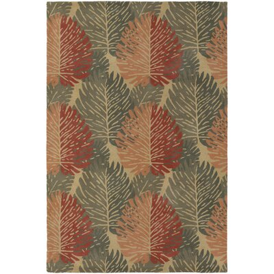 Alfred Shaheen Designer Green Orange Area Rug Rug Size 2 x 3