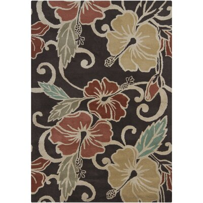 Gagan Dark Brown Area Rug Rug Size: 5 x 7