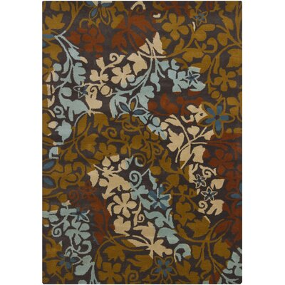 Geren Charcoal Brown Area Rug Rug Size: 5 x 7