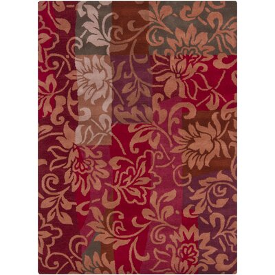 Geren Red Area Rug Rug Size: 5 x 7