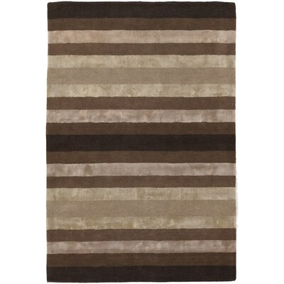 Gardenia Brown/Tan Stripes Area Rug Rug Size: 79 x 106